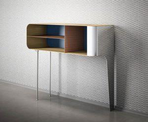 Mobiliario: aparador de metal y madera lacada de DeCastelli.